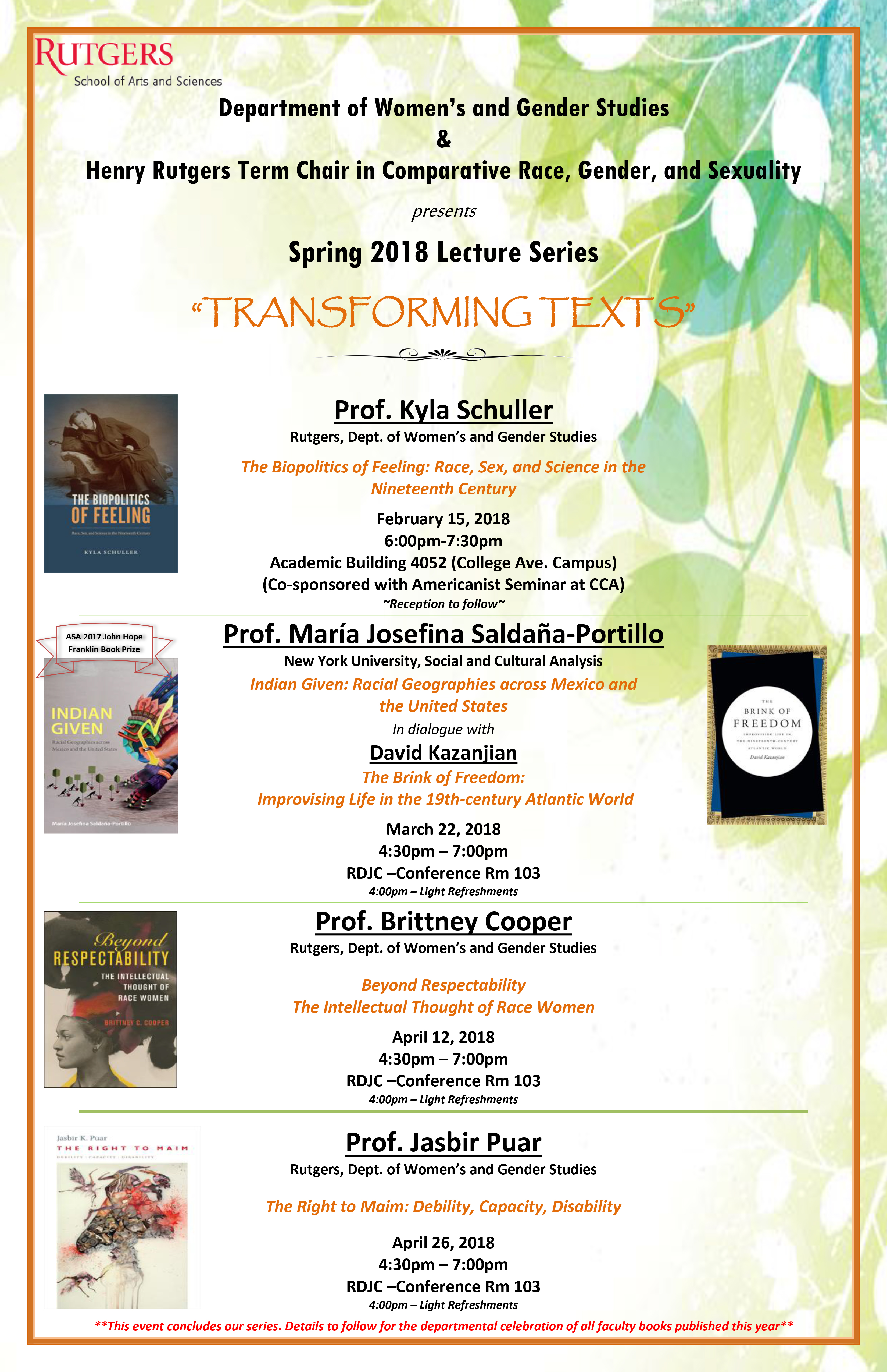 WGS HRTCCRGS Spring 2018 Lecture Series Flyer